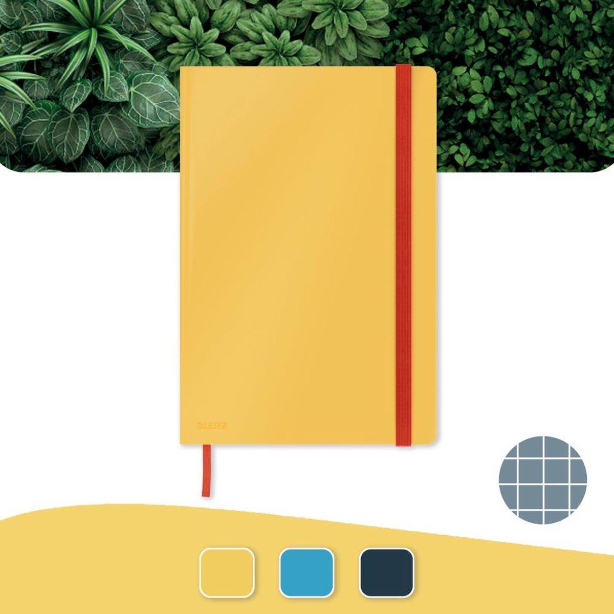 Leitz Cosy Notitieboek B5 Soft Touch Geruit - Notitieboek Hard Cover - Voor Kantoor En Thuiswerken - Warm Geel - Ideaal Voor Thuiskantoor