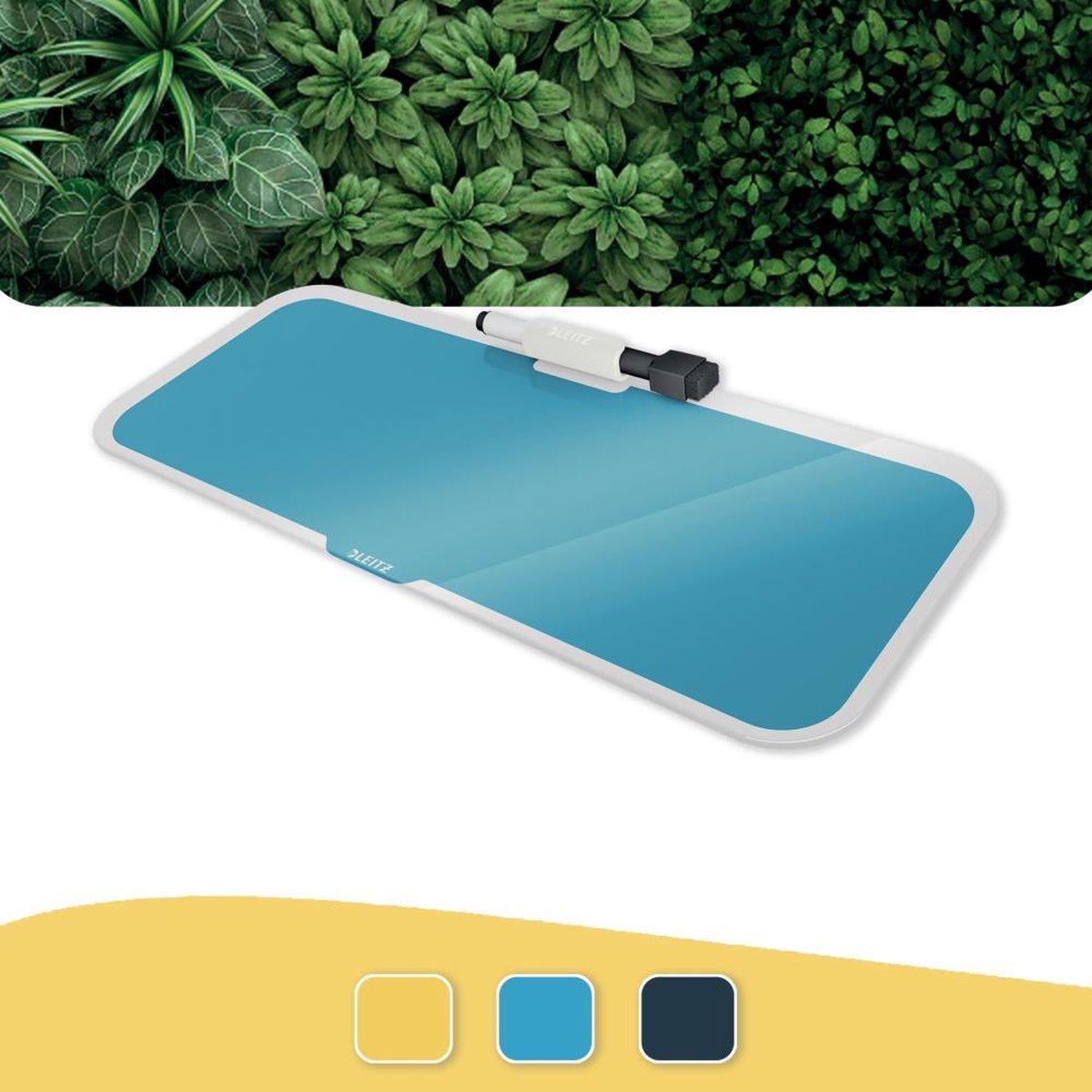 Leitz Cosy Glassboard Voor Bureau - Glazen Memobord Met Pennenhouder - Inclusief Minimarker Met Wisser - Sereen Blauw