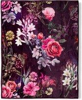 Heerlijk Zachte En Trendy Plaid Flowers Bordeaux | 130x160 | Multifunctioneel (Decoratie, Woondeken Of Sprei) | Teddy Stof