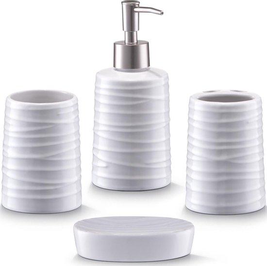 Bol Com 4 Delige Witte Gestreepte Badkamer Toilet Accessoires Set Van Keramiek Zeller