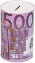Spaarpot 500 euro biljet 8 x 15 cm - Blikken/metalen spaarpotten met euro biljetten