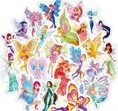 50x Fee stickers - Mix met sprookjesachtige elfjes met vleugels