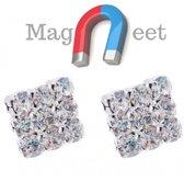 Magneet- strass -oorbellen-vierkant- 6 mm-Geen gaatje nodig- Dams- Heren- Kinderen- Zilverkleurig-Charme Bijoux®