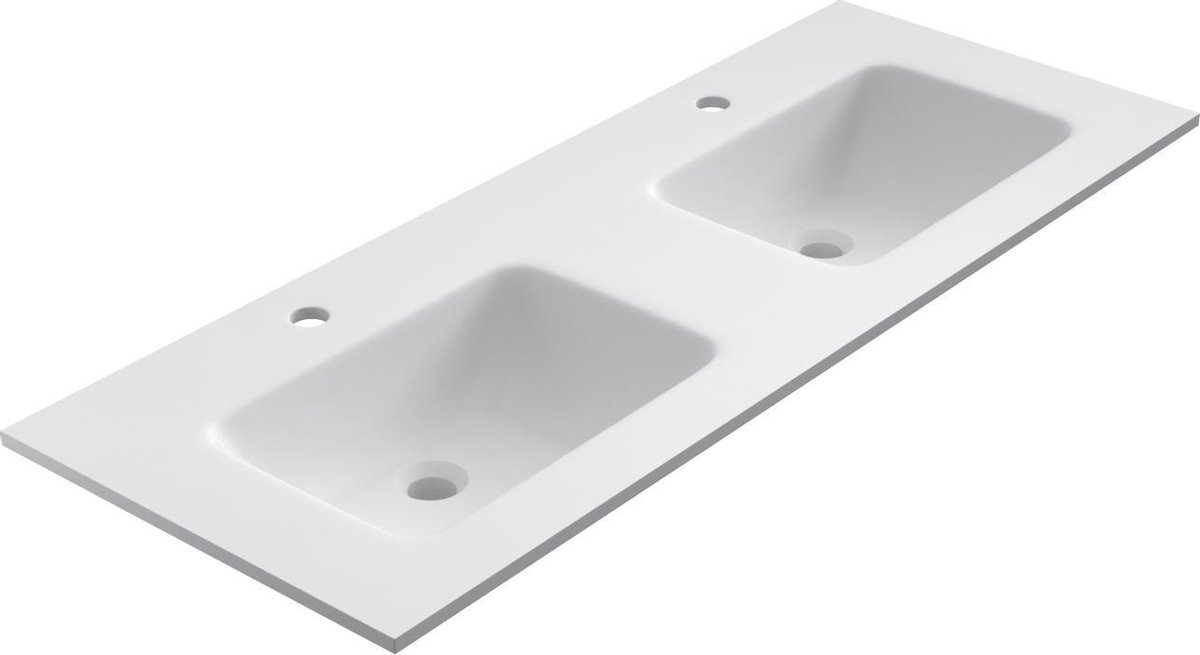 Solid Surface dubbele wastafel Florence, 121x46cm wit
