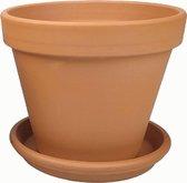 Plantenwinkel Terracotta pot met schotel 15 cm mono set bloempot voor binnen en buiten