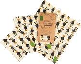 Nutty Green Bijenwas Doeken 3-Pack (Maat S/M/L) - Bijen Was Doek Gemaakt van Katoen / Jojoba Olie / Boomhars - Herbruikbaar & Duurzaam Alternatief voor Vershoudfolie / Boterhammenzakjes / Kaaspapier Folie - Beewax Wraps - Beeswax Wrap – Beer Motief