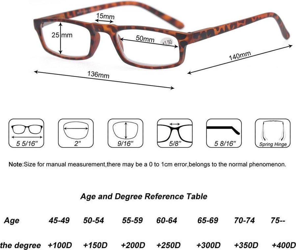 Leesbril +3.5 Dpt Plastic Tijgerprint Dames kopen