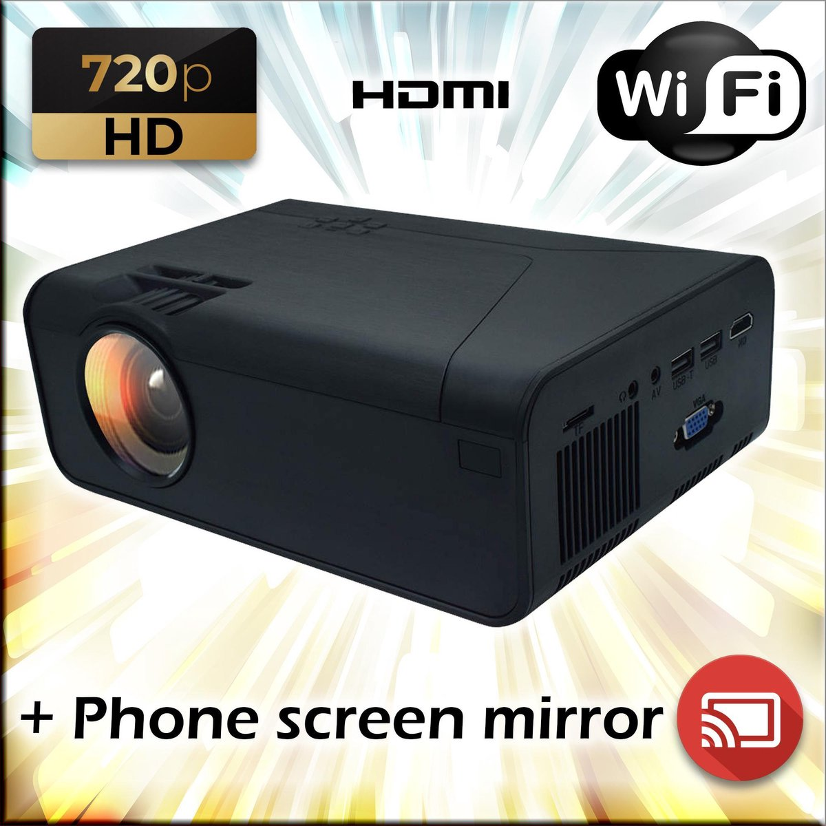 Mini beamer / projector - 720p met WiFi / Draadloze verbinding met uw telefoon / Screen mirror + HDM