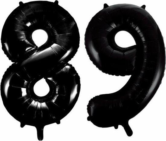 Folieballon 89 jaar zwart 86cm