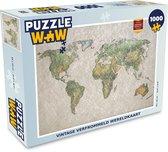 Puzzel Oude wereldkaart 1000 stukjes - Vintage verfrommeld wereldkaart