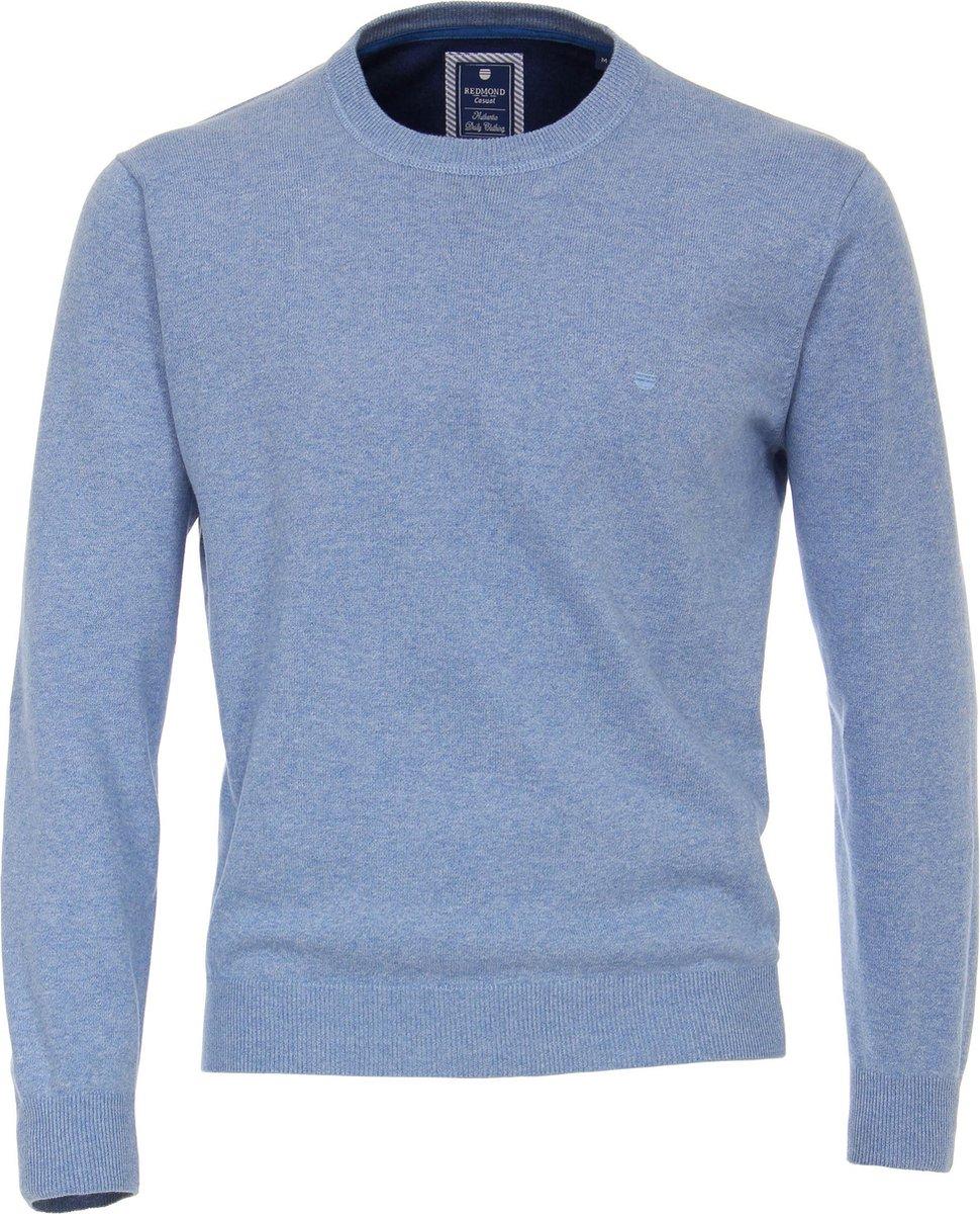 Redmond heren trui katoen O-hals - lichtblauw melange -  Maat: XXL