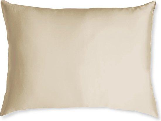 Satijnen kussensloop - Skin & Hair Pillow sleeve - Champagne 60x70cm - Beauty kussen - Anti Allergeen + GRATIS satijn scrunchie
