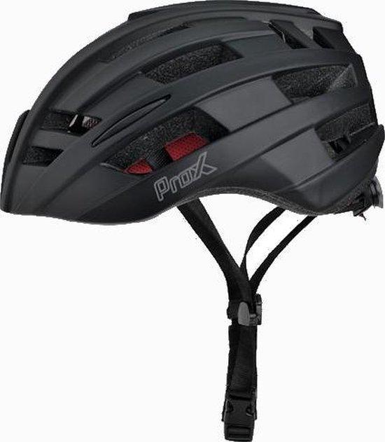 Fietshelm Matt zwart Prox - Large 58/61cm - rood fietslicht