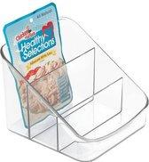 iDesign Keuken organizer met vakken   - Transparant - Sorteervakken - Small - 3 vakken  (15 x 19 x 12,5 cm)