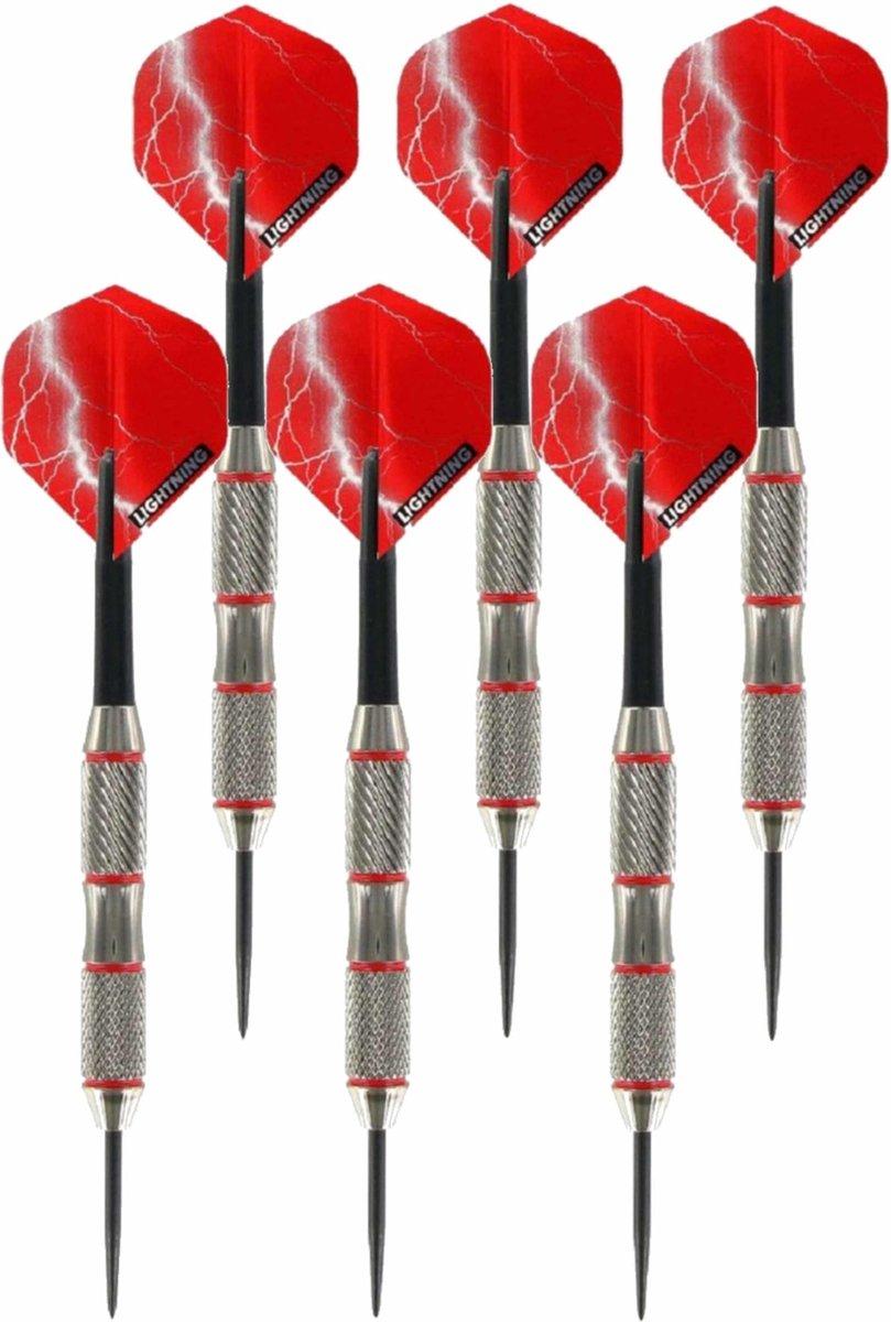 3x Set van 3 dartpijlen Blackjack Brass Red 21 grams - Darten/darts sport artikelen pijltjes messing
