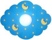 Plafonnière Wolk/Maan blauw voor baby en kinderkamer