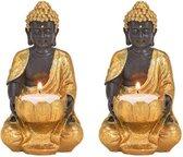 2x Boeddha beeld theelichthouders/windlichten goud/zwart 14 cm - Waxinelicht houders Boeddha beelden- Polyresin Buddhabeelden