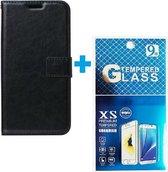 Samsung Galaxy Note 20 hoesje book case + 2 stuks Glas Screenprotector zwart