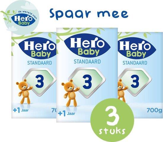 Hero Baby Standaard opvolgmelk 3 (1+ jr) 3 STUKS - met melkvet & zonder palmolie - flesvoeding