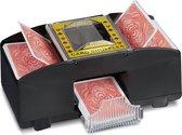 Relaxdays kaartenschudmachine elektrisch - 2 decks - kaartenschudder batterijen - zwart