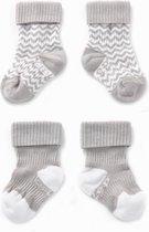 KipKep Blijf-Sokjes - Maat 0-6 mnd - Grijs - 2 paar