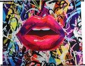 Wanddoek Graffiti Kiss VelvetMulti 146 X 110