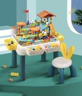 Kinder Blokkentafel | Bouwtafel 4 in 1 | INCL. GRATIS Bouwstenen | Kindertafel met stoeltje | Water Speeltafel | Activiteitentafel Tekentafel | Bouwtafel compatibel met LEGO (DUPLO)