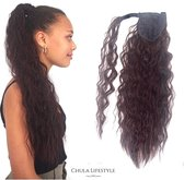 Chula Lifestyle Paardenstaart Haar Extension Donker Bruin Lang Krullend Golvend 56 cm - Ponytail Extensions Dark Brown Long Curly Wavy 22 inch