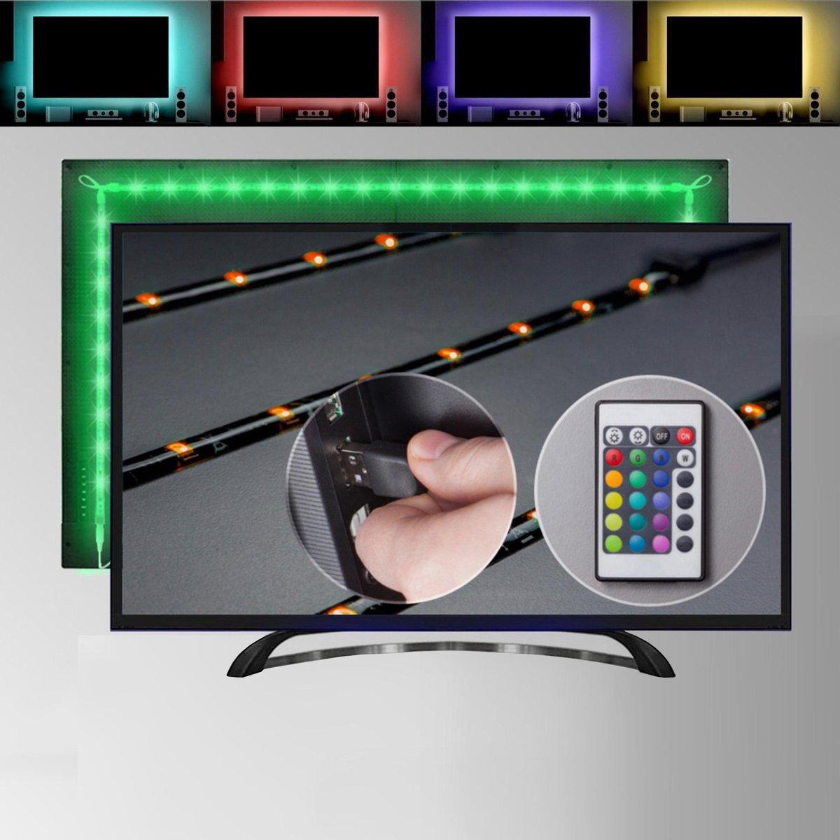 B.K.Licht - LED Strip - 2 meter - RGB - voor TV/PC - USB-aansluiting - incl. afstandsbediening - zelfklevend