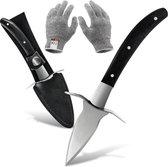 Oestermes Set met Snijbestendige Handschoenen - Veilig Oesters Openen - Snijwerende Handschoenen - Keuken Accessoires - Zwart | Lobster Family