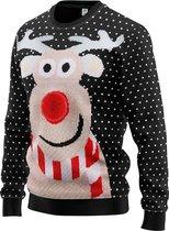 JAP Foute kersttrui - Rudolf met 3D neus voor volwassenen - Dames en heren - M - Zwart