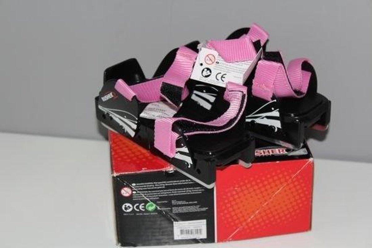 Rusher Glij ijzers Verstelbaar maat 25 - 31 - Botjes roze