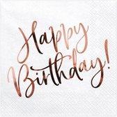 Servetten Happy birthday wit - rose gold (20 stuks)