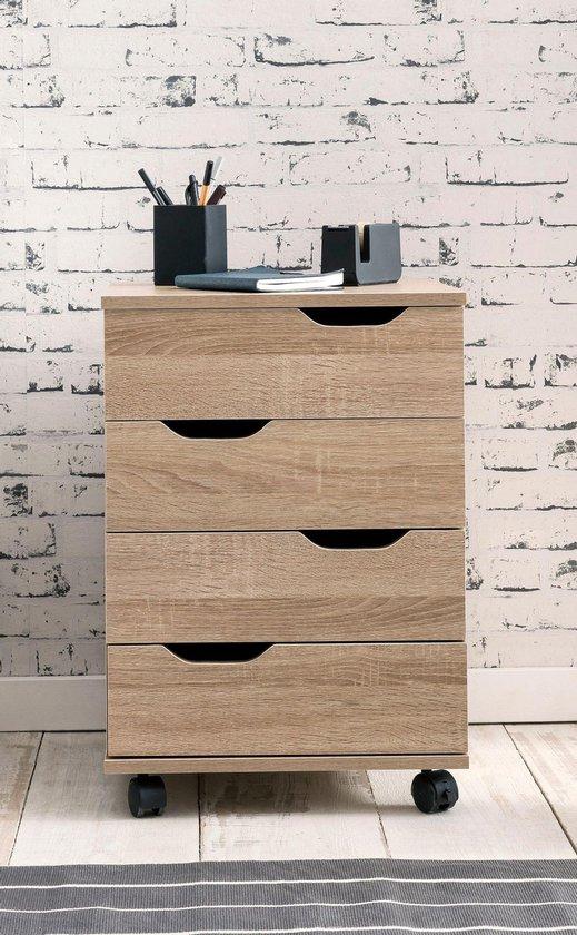 Pippa Design stijlvolle en verrijdbare rolcontainer ladeblok - houtkleur