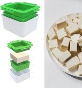 Bascessoires TofuPers Groen Wit - 3 Delige Tofu pers - Vegetarische Keukengerei - Vegetariër - Vega - Vegan