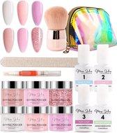 Miss Jules® Complete Set - Dipping Powder Starters Kit - 6 Kleuren Roze - Acryl Nagels Starterspakket