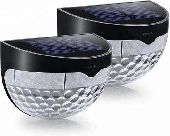 Lumore® - Solar buitenlamp - 6 LEDs - Buitenverlichting - Tuinverlichting op Zonne energie - 2 Stuks - Zwart