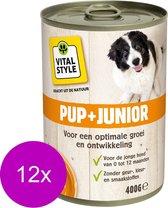Ecostyle Blik Vitaal Vlees Junior - Hondenvoer - 12 x 400 g