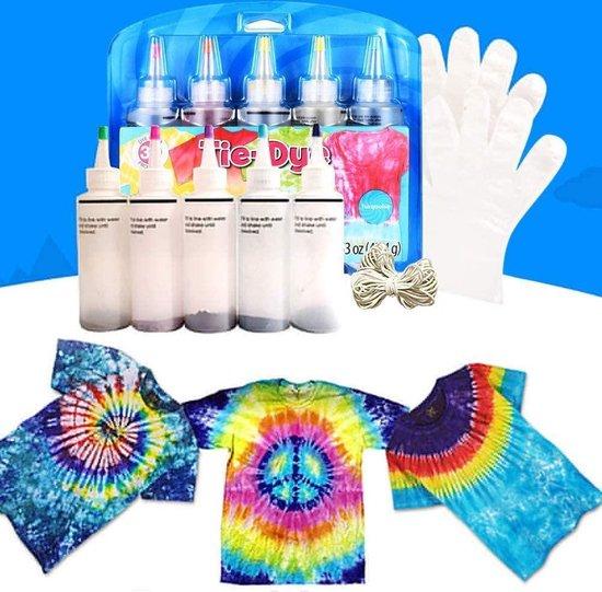 Tie Dye Kit - Tie Dye Set - Tie Dye Set Met Gratis Handschoenen en Elastiek - Knutselset - Doe het zelf verfset - Hoog-waardige kwaliteit - Kindvriendelijk - Cadeau - Tie Dye Ontwerpstudio