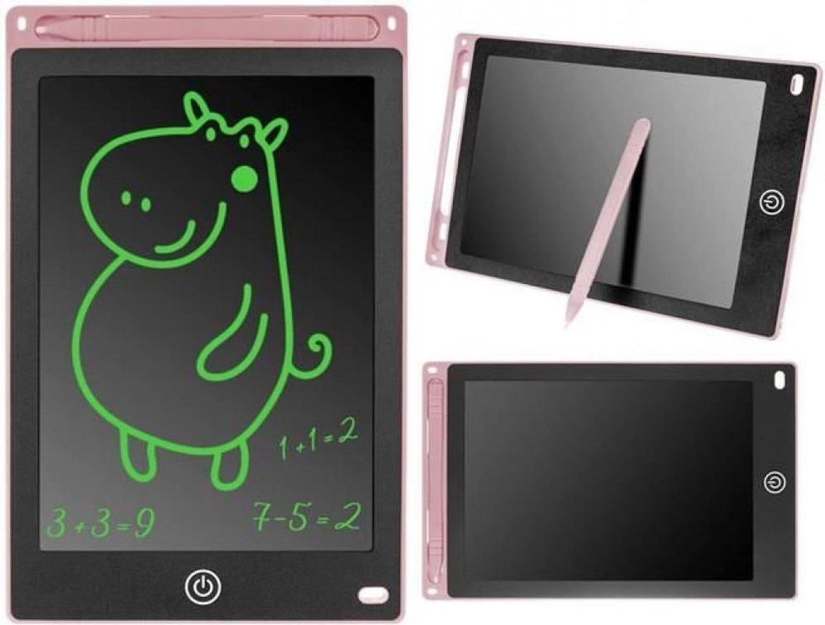"""Tekentablet voor kinderen - Roze - Zwart - 8,5"""" - Notitieblok - Grafische tablet - Tekenbord kinderen - Tekentablet - LCD Tekentablet kinderen - Grafische tablet kinderen - Kindertablet Roze"""