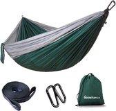 Relephance Hangmat Parachutestof - Hammock – Incl. Karabijnhaken en Riemen - tot 200 Kg - 270x140cm - Groen/Grijs
