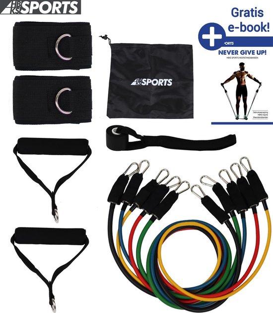 HBKS Sports Weerstandsbanden Set - 11-delige Set - Resistance Band - Fitness Elastiek Set - Muscle Bands Elastic - met Handvatten