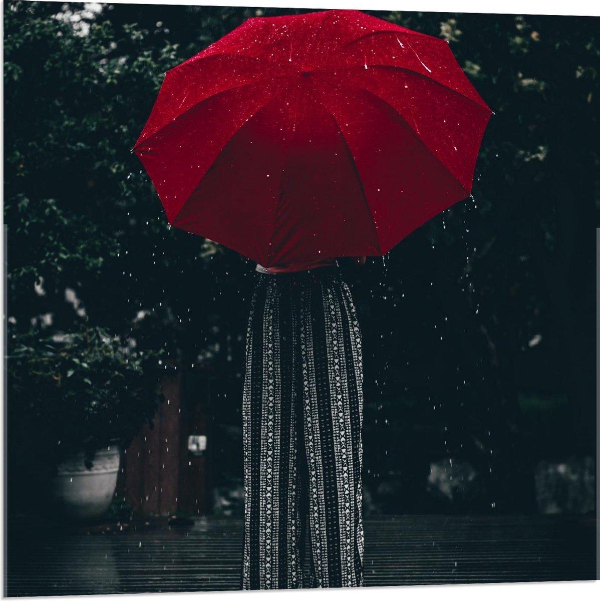 Plexiglas - Meisje onder Rode Paraplu - 80x80cm Foto op Plexiglas (Wanddecoratie op Plexiglas)