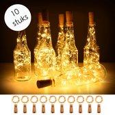 Flesverlichting - Flessen kurk met LED lampjes - Prachtig voor in huis - Versiering voor op tafel - 10 Stuks - Warm wit