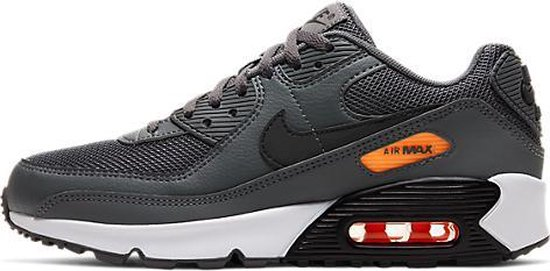 NIKE AIR MAX 90 GS Unisex Sneakers - Iron/Grey/Black/Orange - 37.5