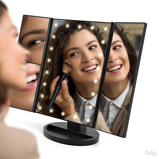 Gadgy Make Up Spiegel met LED verlichting – Staande spiegel - met 2 vergrootspiegels – Cosmetica / Visagie spiegel - Scheerspiegel - 22 dimbare leds - 180° draaibaar – op batterijen en USB (kabel incl) - leuk cadeau