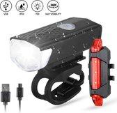 Waterdichte oplaadbare fietslamp voor en achter - 300 lumen - Superfelle fietsverlichting met USB-kabel - Combi deal