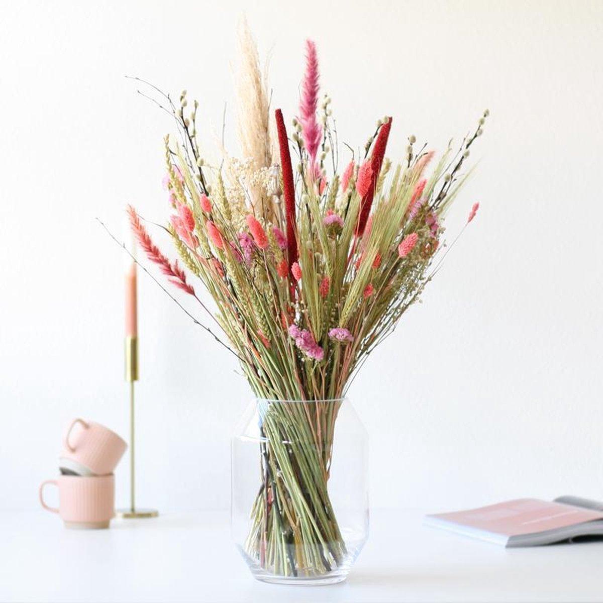Droogbloemen boeket  Roze  60 cm  duurzaam boeket