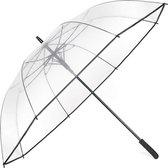 Minuma® paraplu XXL | transparant, helder en extra groot: 128 x 98 cm | met praktisch openingsmechanisme en ergonomische handgreep | Paraplu is ook voor stellen geschikt