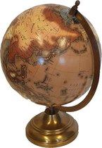 Wereldbol op voet 20 cm amber